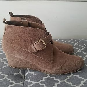 Franco Sarto Suede Wedge Ankle Boots